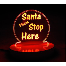 Santa Stop Here Mini LED Light Sign