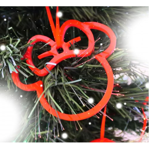 mickey minnie mouse shaped acrylic christmas decoration set of