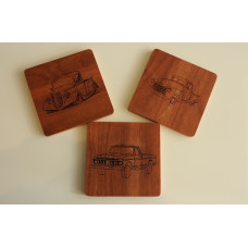Truck Wooden Coasters Set of 3