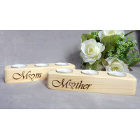 Mum Tea Light Wooden Candle Holder