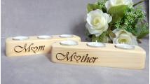 Mum Wood Tea Light Candle Holder