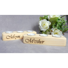 Mum Wood Tea Light Candle Holder