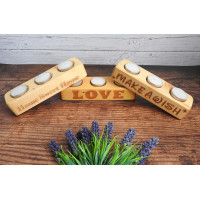 Personalised Wooden Tea Light Candle Holder