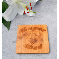 Wooden Super Dad Coaster