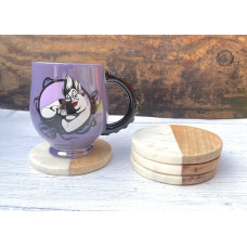 Marble & Wood Coasters Set of Four