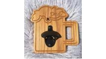 Wall Mounted Oak Bottle Opener