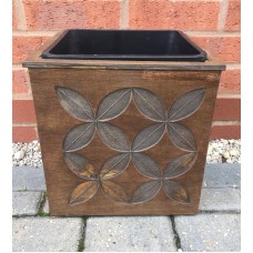 Wooden Square Plant Pot with Plastic Pot Insert