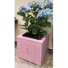 Wooden Square Pink Plant Pot with Carved Unicorn and Pot Insert