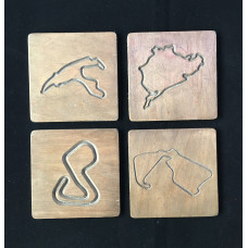 Wooden Racing Track Coasters Set of 4