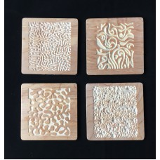 Wooden Patterned Coasters Set of 4