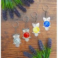 Acrylic Fluid Pour Painting Owl Keychain