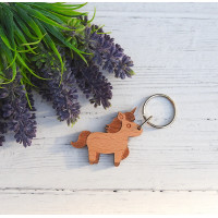 Unicorn Keyring Hardwood