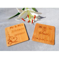 Wooden Bamboo Wedding Coaster